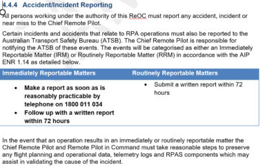 RPAS accident and incident template